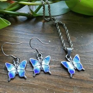 Vintage Butterfly Silver Earring & Necklace Set